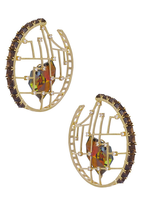 HOOPS IN MULTI COLOR VOLCANO SWAROVSKI CRYSTAL AND SMOKY QUARTZ CRYSTALS AND BRA