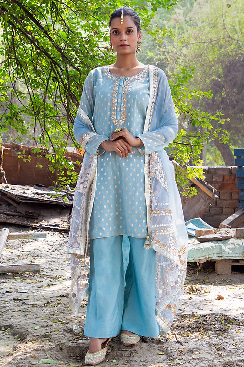 Sky Blue banarsi booti embroidered suit