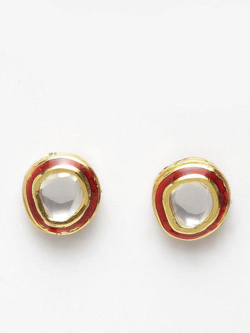 Red Mina Kundan Earring
