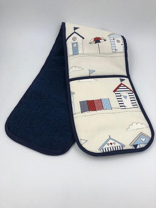 Double oven gloves, beach hut, L008