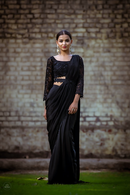 Black crepe drape saree
