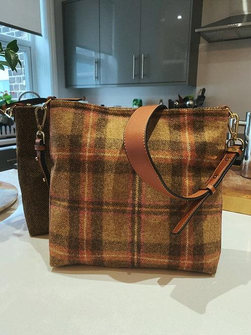 Pink and Brown Herringbone tweed shoulder bag, shoulder bag, Work bag, casual ba