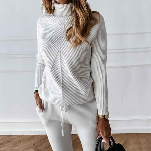 Autumn Winter Women's tracksuit with Turtleneck Sweater - Two Piece Set