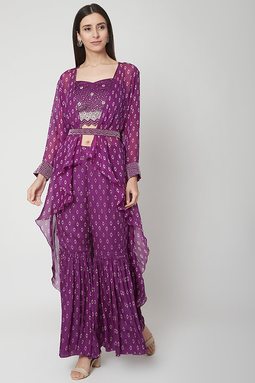 Blouse and sharara set with cape