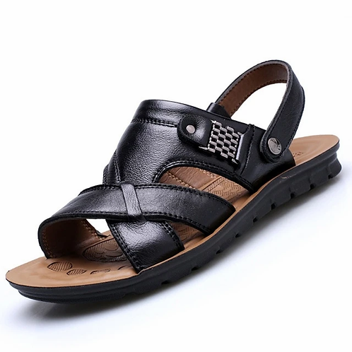 Genuine Leather Men's Sandals - Casual and Comfortable