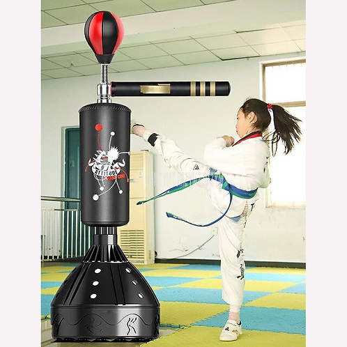 Professional Heavy Stand Punching Bag & Kicking Pad with 360° Reflex Bar - Free