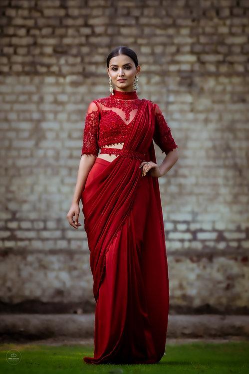 Marsala crepe drape saree