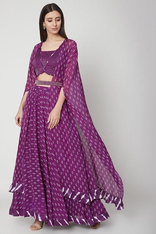 Lehenga skirt blouse with cape