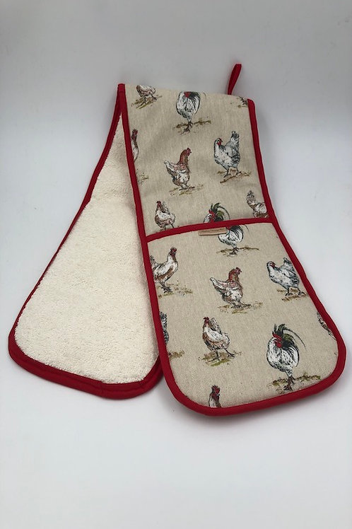 Double oven glove, chickens L011