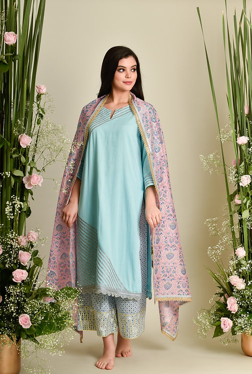 TURQ BLUE KURTA SET