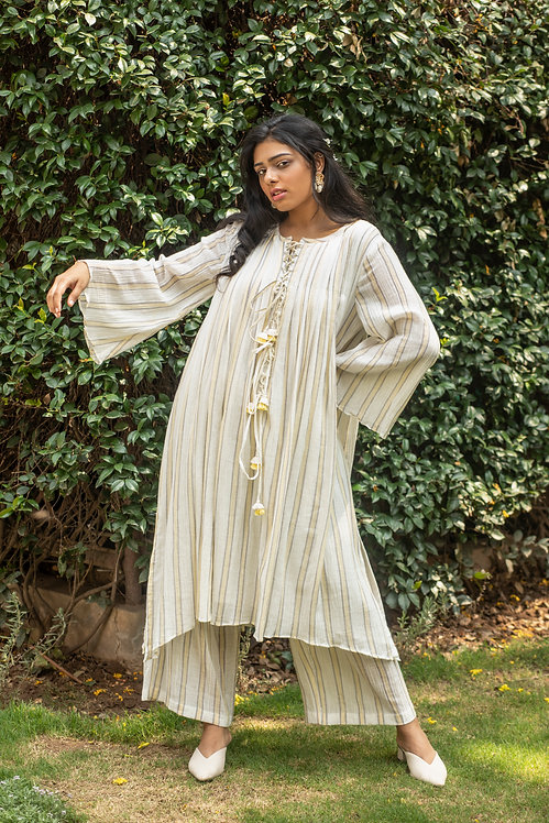 Lemon	stripes	kaftan	kurta &	 palazzos