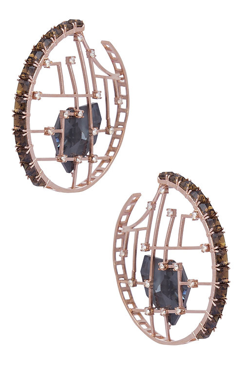 HOOPS IN DARK GREY SWAROVSKI CRYSTAL AND SMOKY QUARTZ CRYSTALS AND BRASS IN ROSE