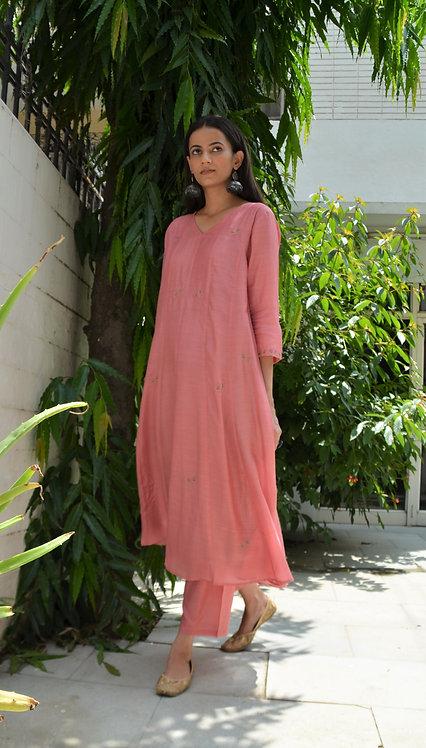 Crystal Pink Kalidaar kurta & pant