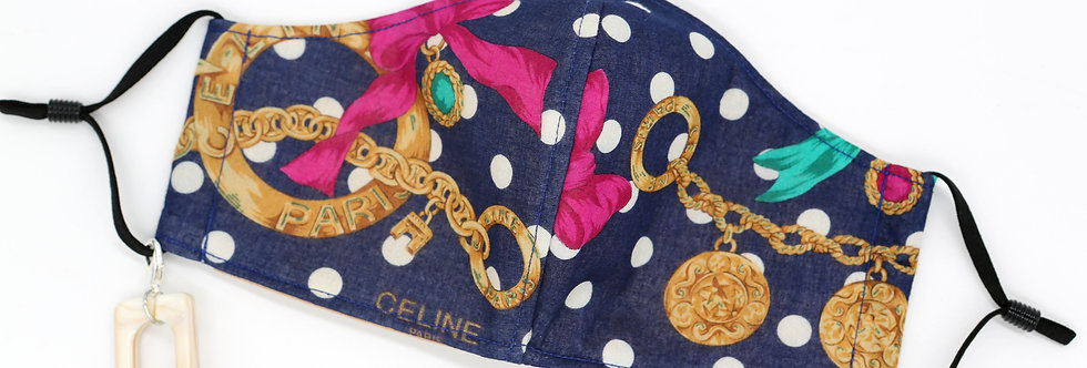 Authentic Celine Scarf Facemask Polka Dots