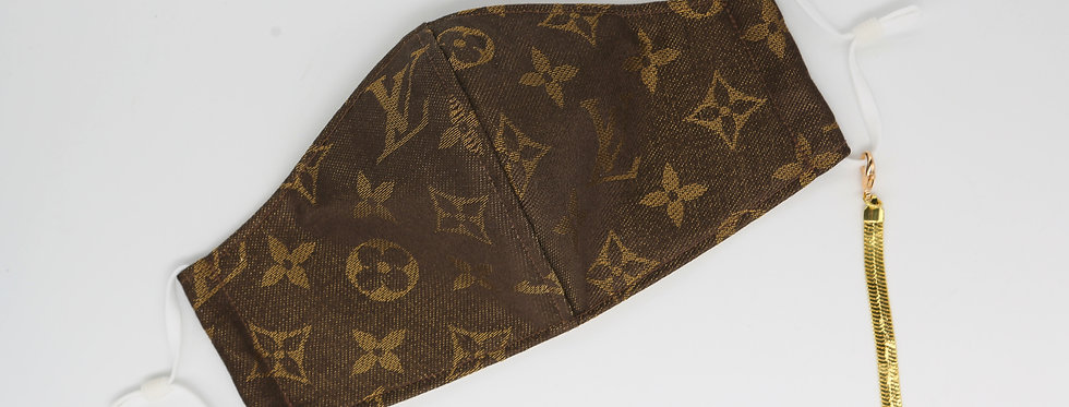 Authentic Upcycled LV face mask - Brown
