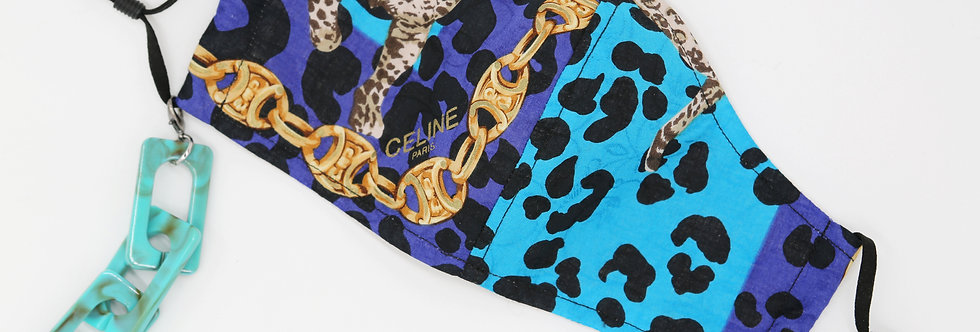 Authentic Celine Scarf Facemask Leopard