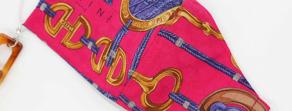 Authentic Celine Scarf Face Mask - Hot Pink