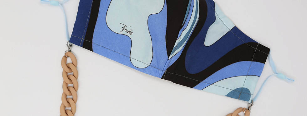 Authentic Emilio Pucci Fabric Facemask - Blue