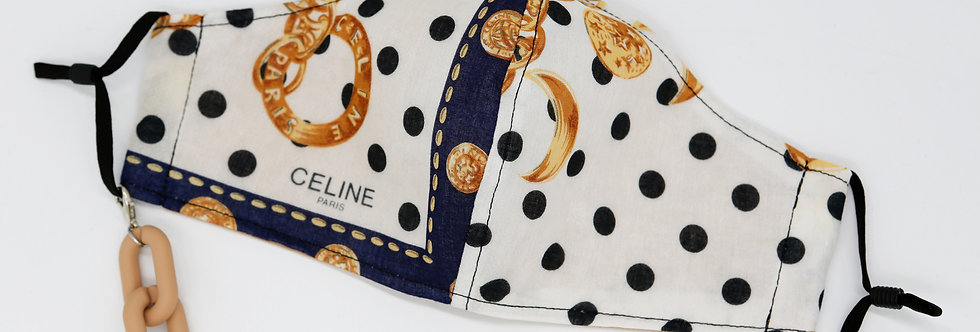 Authentic Upcycled Celine Face Mask Polka Dots
