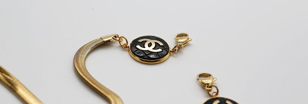 Authentic Repurposed Buttons Chanel  Herringbone Chain