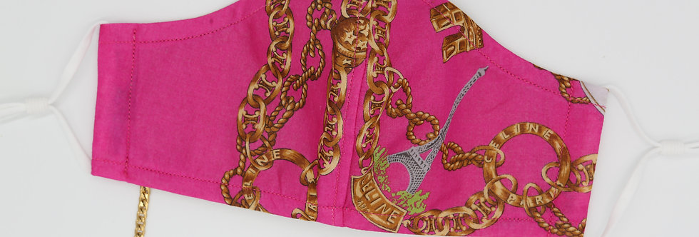 Authentic Hot Pink Celine Scarf Face Mask