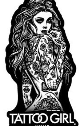 Tattoo Girl Wine Sticker Rosé