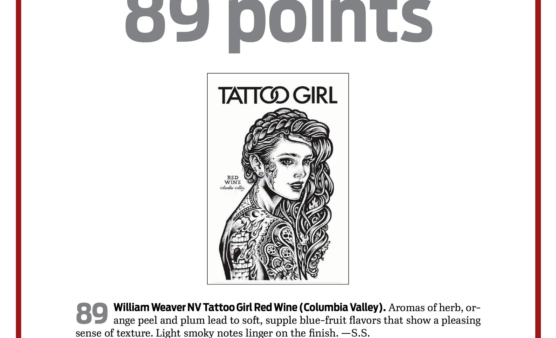 Tattoo Girl Red Wine