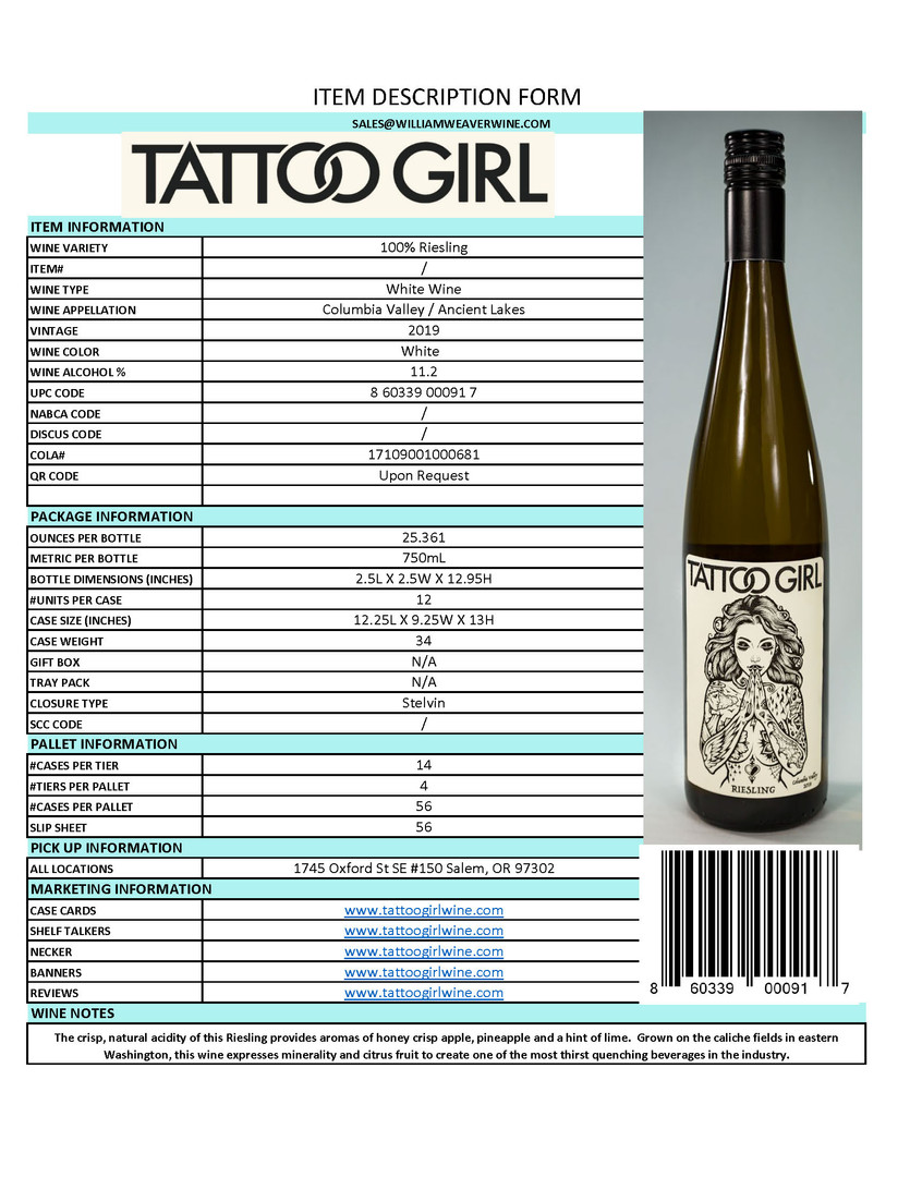 Riesling Item Description Sheet