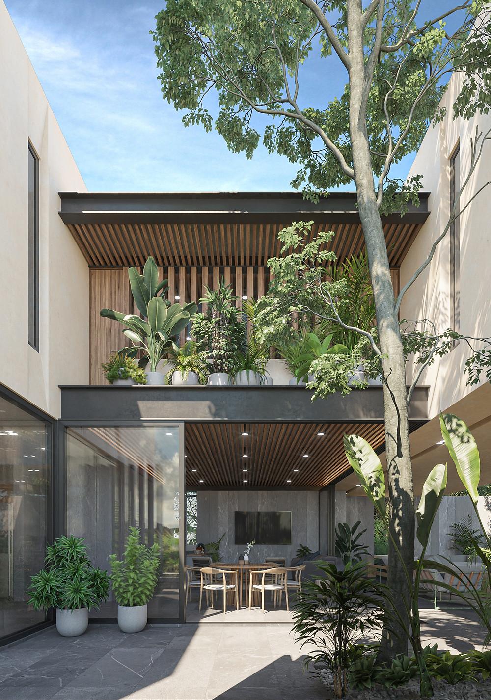 BOOY | tescala | patio acceso entre volúmenes