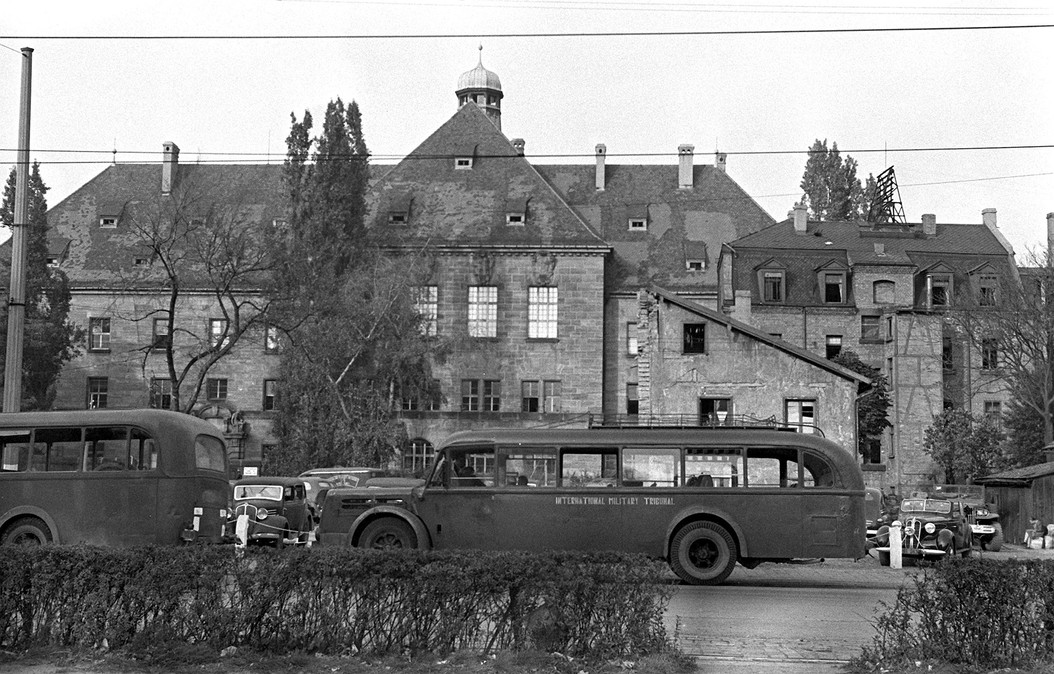 Military buses transported personnel from over 90 different housing locations in and around Nuremberg to work each day. Here, a street view of Courtroom 600 with curtains closed for security purposes.