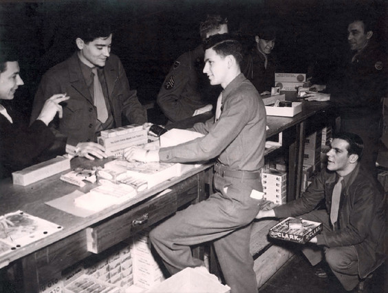 Post Exchange (PX) where rations of cigarettes, gum, toiletries and sundry items could be purchased with ration cards issued to all Allied personnel