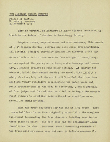 Harold Burson's radio script for the opening day of trial, Nov. 20, 1945. Harold wrote but did not record his reports.
