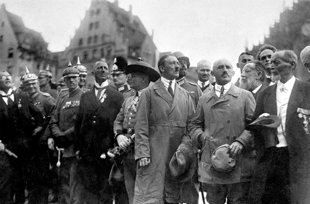 Julius Streicher, anti-semitic propaganda publisher and gauletier (governor) of Franconia, with Hitler during his rise to power in Nuremberg c. May 1923