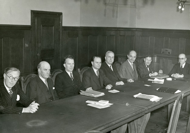 IMT judges, from L to R: Sir Norman Birkett (British alternate judge), Lord Geoffrey Lawrence (British judge and IMT Presiding Justice), Lieutenant Colonel Alexander Volchkov (Soviet alternative) Major General Iona T. Nikitchenko (Soviet main), Johnston J. Parker (USA alternate judge), Francis A. Biddle (USA main), Robert Falco (French alternate judge), John Henri Donnedieu de Vabres (French main).