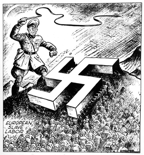 Albert Speer demanded huge numbers of forced workers to keep up with armaments production. Here, an American perspective on the scourge of Nazi oppression, the people of Europe forced into slave labour, crushed beneath the swastika and whipped by a giant Nazi General wielding a horsewhip.