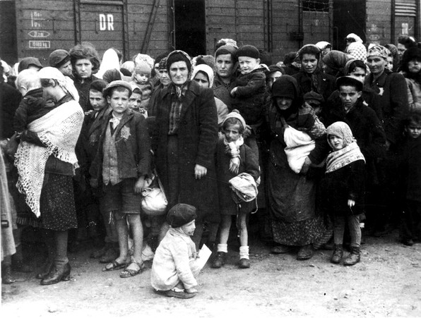 Arrival of Hungarian Jews at Auschwitz, a Nazi concentration and death camp in Poland. Summer 1944