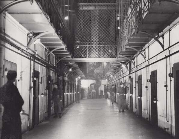 The first floor of jail wing where major Nazi war criminals were held. Security before a suicide was one guard to four cells.
