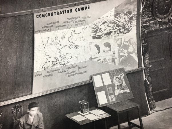 Atrocities exhibit in front of concentration camp locations (partial)
