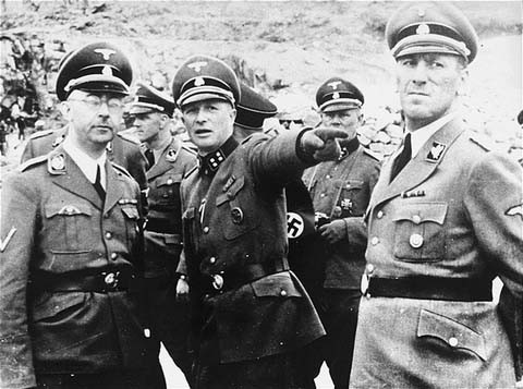 Ernst Kaltenbrunner (right), head of Reich Security and Police under Heinrich Himmler (left, architect of plans that led to killings of six million Jews), in Mauthausen Concentration Camp, 1942.