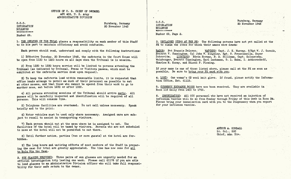 Nov. 20, 1945: Office of the Chief Council (OCC) daily memo from Administrative Head Arthur Kimball on the first day of trial