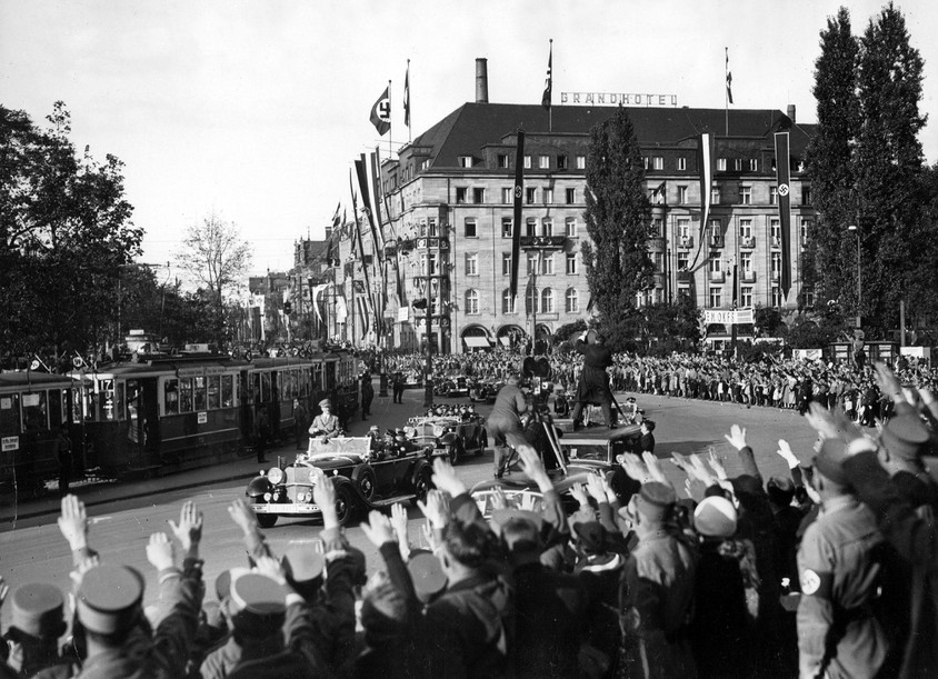 The Grand Hotel in background, pictured during the 1935 Nuremberg Party Rally