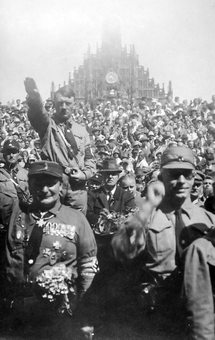 Reichsmarschall Hermann Goering, Hitler's designated successor bedazzled with his WWI medals, at a Nazi Party Rally in Nuremberg, 1928. Goering was at the center of all that transpired in Nazi Germany, an active participant in every crime. He conspired to put Hitler in power and he kept him there.