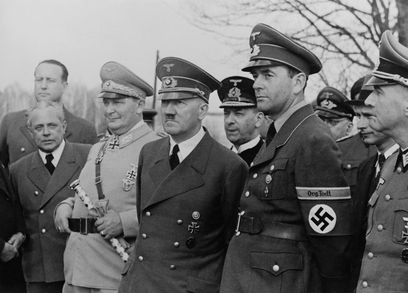 Hitler's Successor Hermann Goering and Albert Speer, who was promoted to Minister of Armaments in 1942.