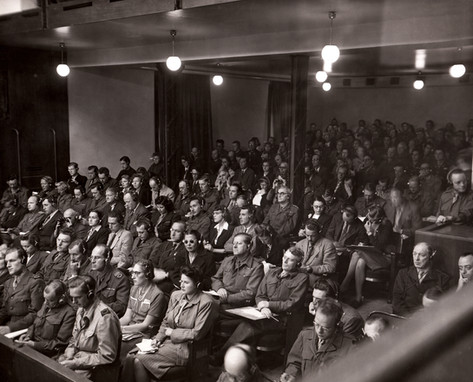 Press gallery in Courtroom 600. Over 250 international journalists descended upon Nuremberg to report the trial via newspaper, periodical or radio – the only mediums available in 1945