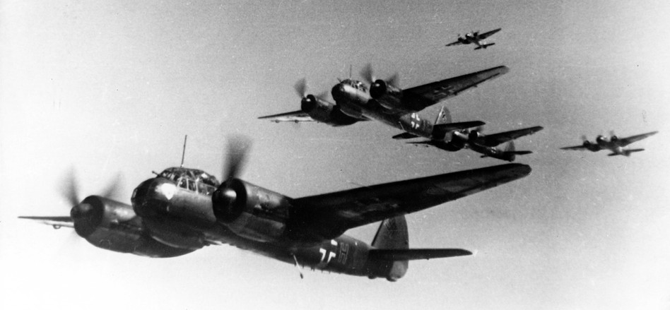 Nazi propaganda image depicting Nazi Luftwaffe combat fighters over Norway, published in August 1943