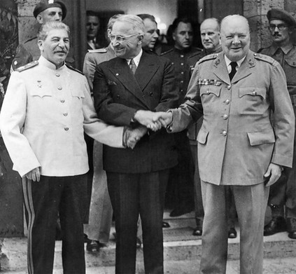"The final ""Big Three"" meeting between the Soviet Union, the United States, and Great Britain took place July 17, 1945. Roosevelt had died in April – just three weeks before the war in Europe ended; Harry Truman was now President. In addition to war crimes trials, the Allies discussed Japan's persistence in the east. Victory in the European Theater (VE Day) was May 9th; Victory in Japan (VJ Day) was August 14th. WWII officially ended in September, 1945."