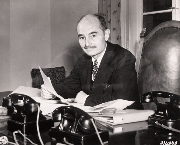 American judge Francis Biddle in his office at the Palace of Justice