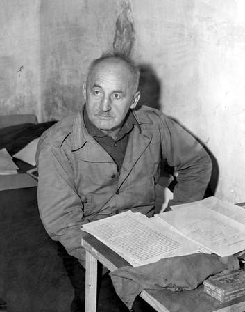 Julius Streicher preparing for trial in Nuremberg prison, Nov. 1945