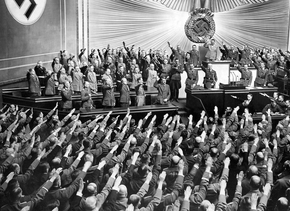 Hitler and leaders in a Reichstag session in April, 1941 – two months before invading the Soviet Union