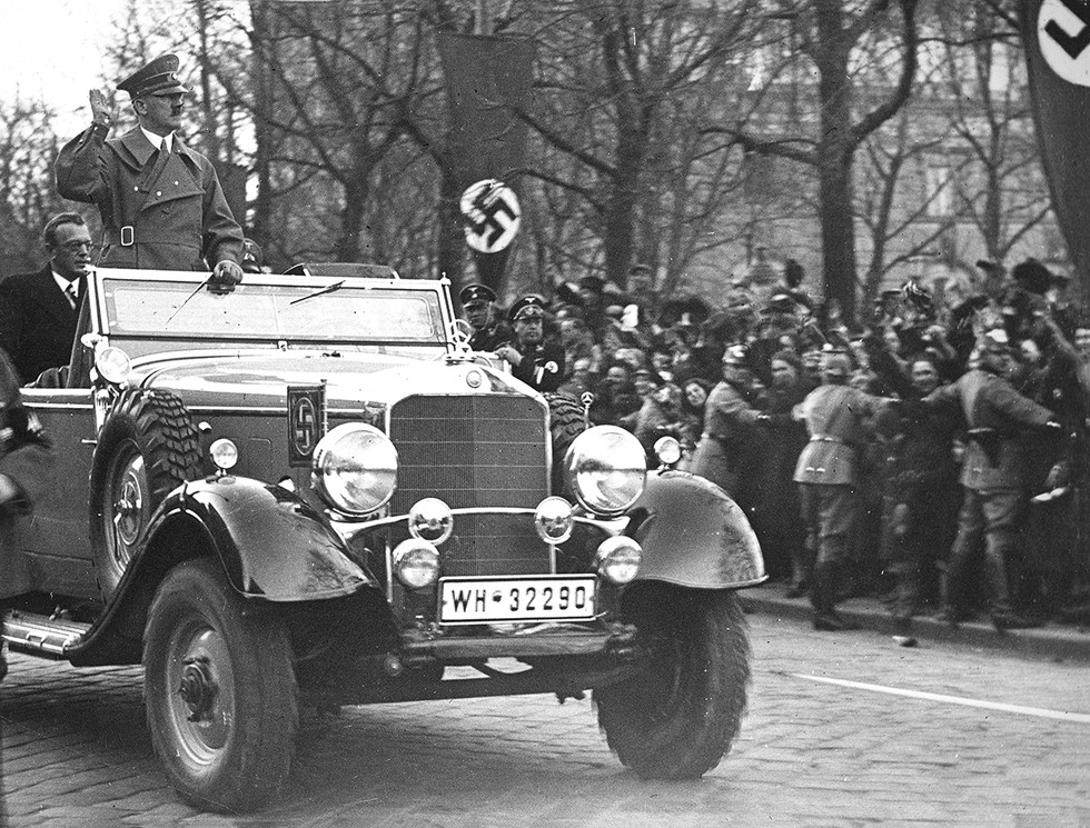 Arthur Seyss-Inquart with Hitler in Vienna during the Anschluss (Austrian Annexation) March 14,1938. Seyss-Inquart was appointed Reich Commissar of the Nazi occupied Netherlands two years later.